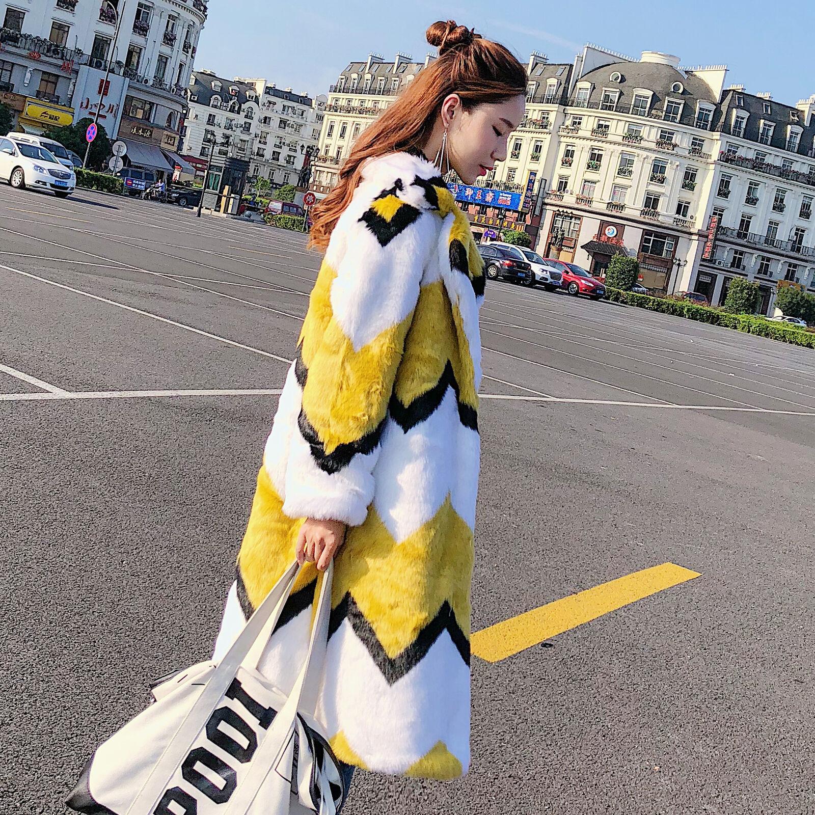 Frauen Faux Fuchspelz Jacke Revers Mantel Parka Winter Outdoor Stripe Outwear Y352