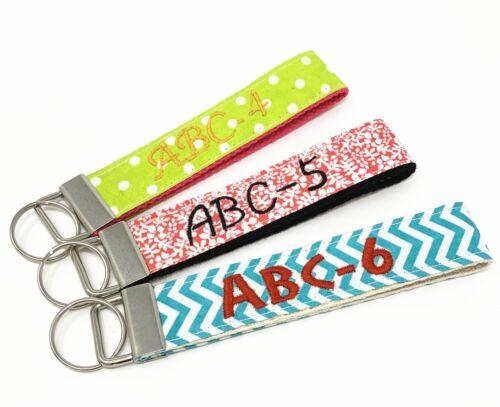 Personalize Custom Monogram signature Wristlet Key Fob with keyring