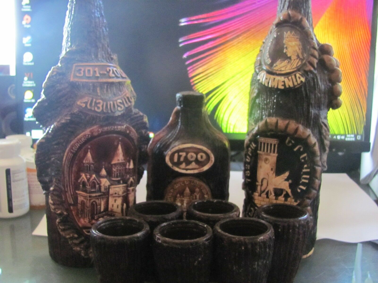 Set of 3 bottles and 6 small glasses  ARMENIA