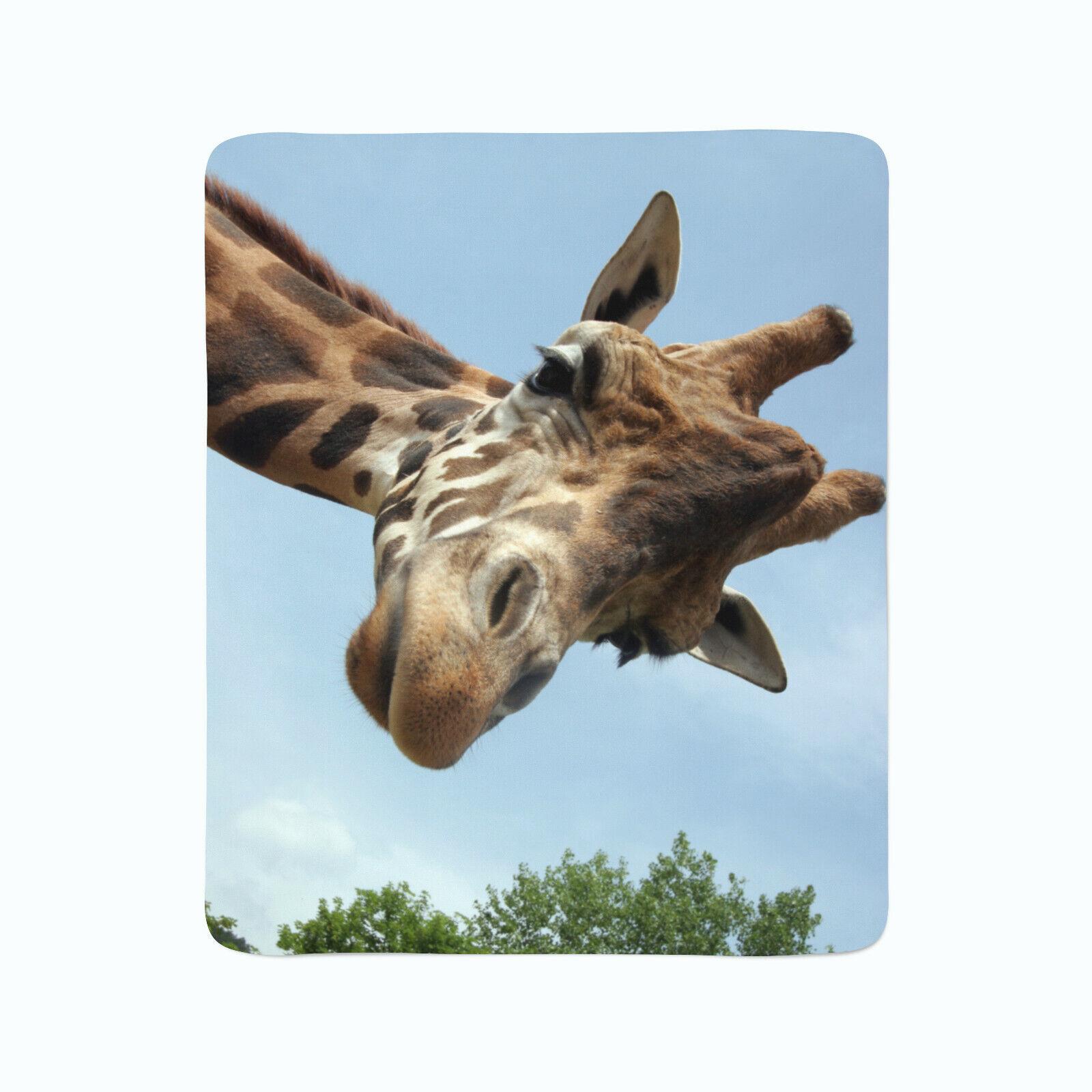 Fleece Decke Foto Decke Kuscheldecke mit Motiv Natur Tiere Giraffe Kopf Porträt