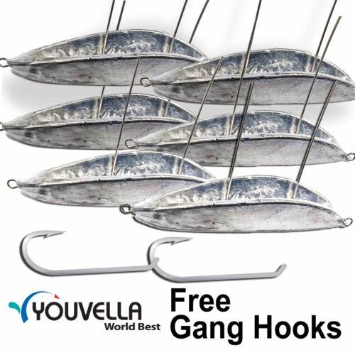 6x 130 gram Trolling Chin Guard for Mackerel Shark Bonus Youvella Gang Hook GT
