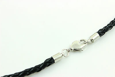 """3-4mm 14""""-30"""" Black Genuine Leather Cord Mens Necklace Twist Chain Stainless ste"""