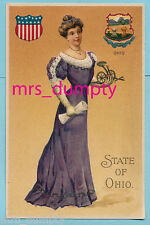 Langsdorf State Girl~OHIO State Lady w/ FARMING TOOL~Excellent Postcard