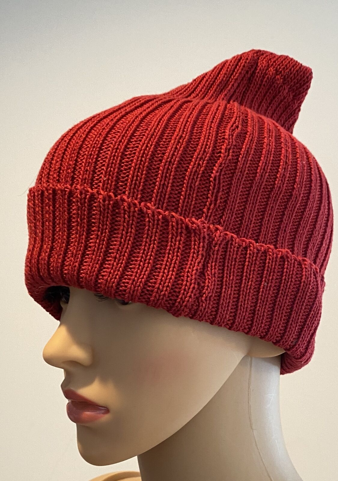 PATRICIA UNDERWOOD KNITS red ribbed beanie hat  - image 2