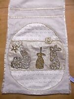 Spring Easter Beaded Bunnies W/ Lace Table Runner Linen Lace 13 X 72