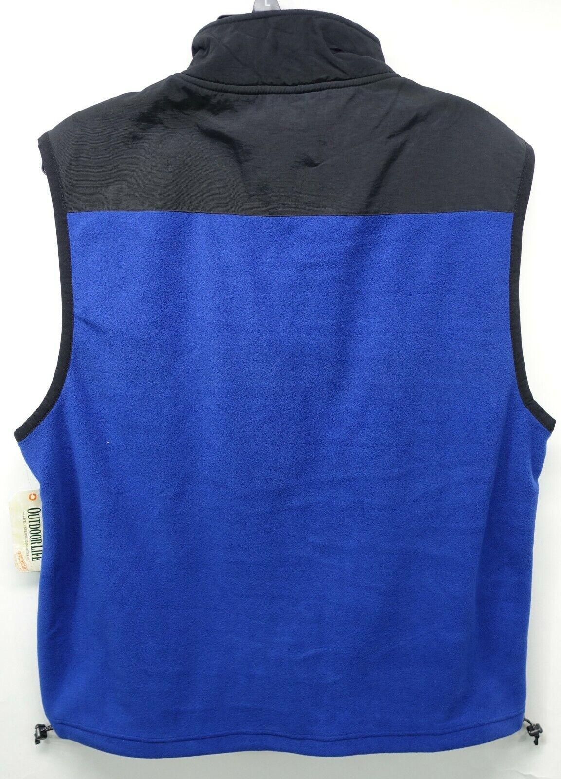 Outdoor Life Zipper Front Vest Mens Large Blue Black