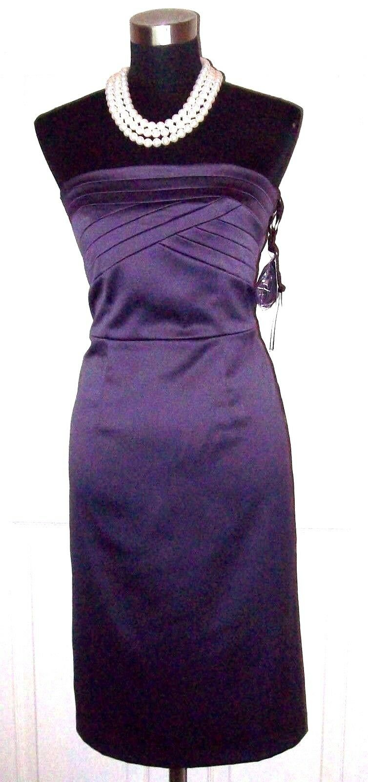 Atmosphere Dress Sz 8 Sheath Silk y Purple Social Evening Spaghetti Strap M 36