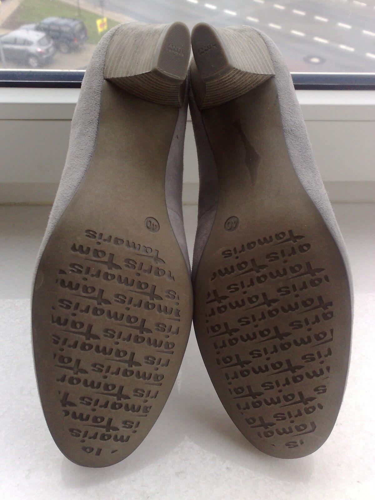 NEW TAMARIS  leather pumps shoes heel EUR US 9  9.5 EUR heel 40  beautiful   gray from UK c1e8dd