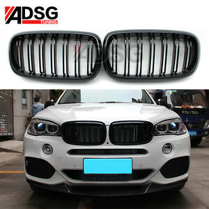 For-BMW-X-Series-X5-F15-Glossy-Piano-Black-2-Fin-Front-Grille-Grill-2015-2016