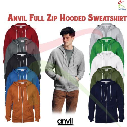 Anvil adulto Classico Full Zip Con Cappuccio Felpa Fashion Casual Sport Felpa Con Cappuccio Top