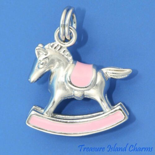Baby Girl Rocking Horse Toy Pink Enamel 3D .925 Solid Sterling Silver Charm