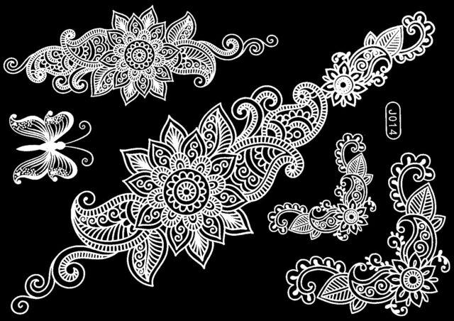Tattoo Einmal Flash Klebe Weiß Braut Hochzeit Fuß Kette Henna Taufe Party J14W