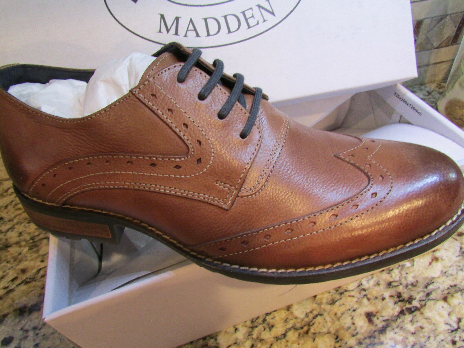 NEW STEVE MADDEN HIGGGENS WINGTIP OXFORD COGNAC SHOES Uomo 8 LEATHER FREE SHIP