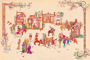 Diane Elson Medieval Village Scene Original Watercolor & Pen Vintage Artwork