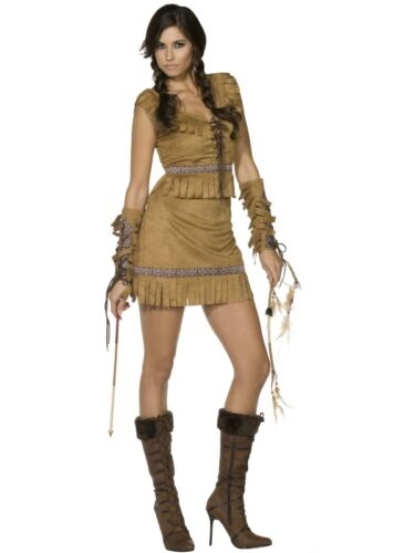 POCAHONTAS RED INDIAN SQUAW LADY FANCY DRESS COSTUME NATIVE AMERICAN OUTFIT HEN