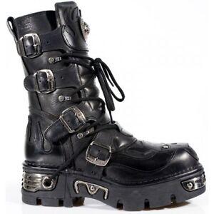 NEWROCK-New-Rock-107-S3-Black-Skull-Devil-Leather-Bike-Goth-Rock-Biker-Boots-107