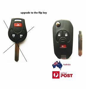 Nissan-3-buttons-remote-Flip-key-case-shell-for-XTRAIL-CUBE-ROUGH-JUKE-uncut