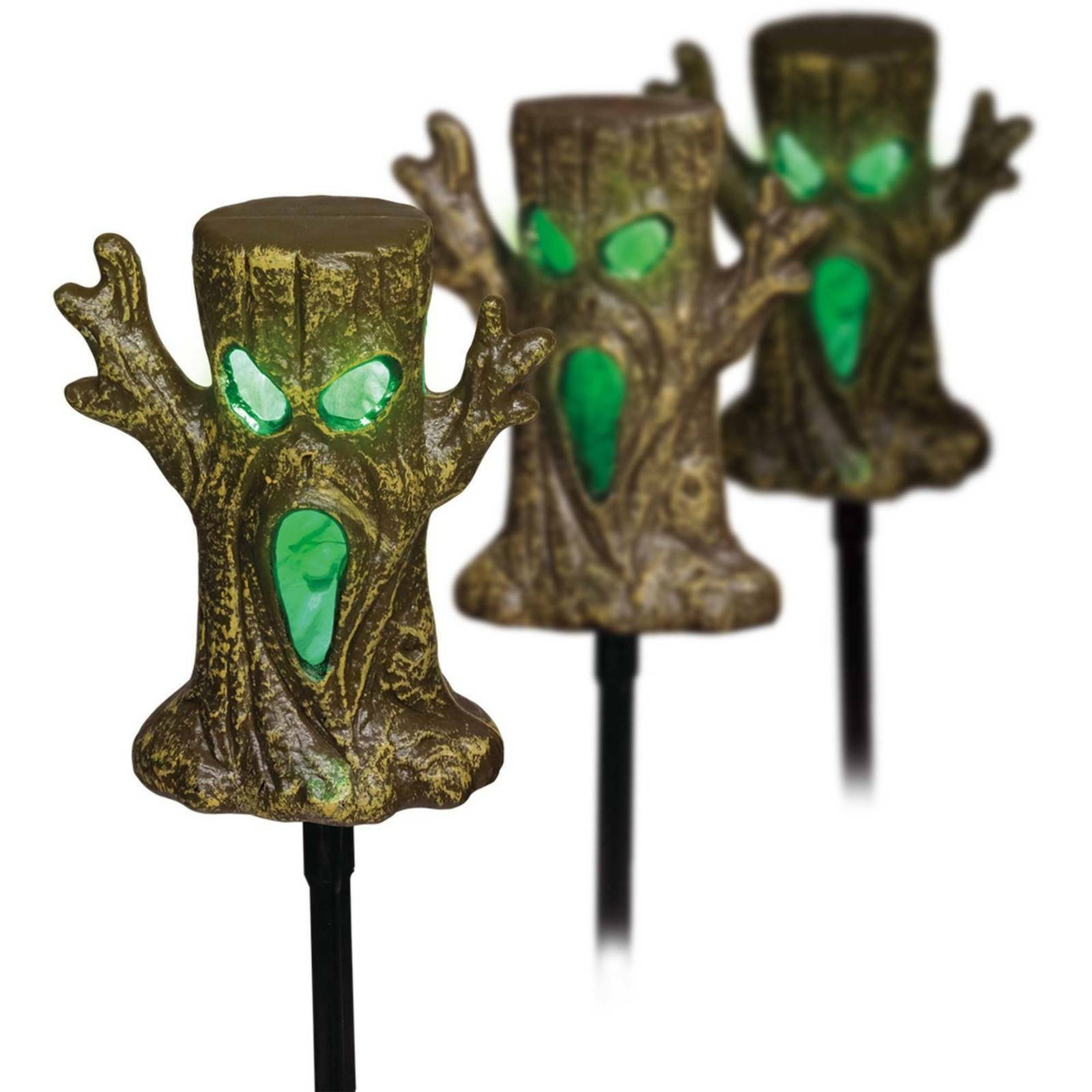 Halloween Spooky Tree Lawn LED 3 Pcs Stakes Set Yard Decor Outdoor Decorations