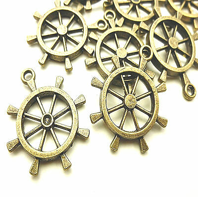10 ANTIQUE BRONZE TONE HELM SHIPS WHEEL PENDANT CHARMS 28mm NAUTICAL STEAMPUNK