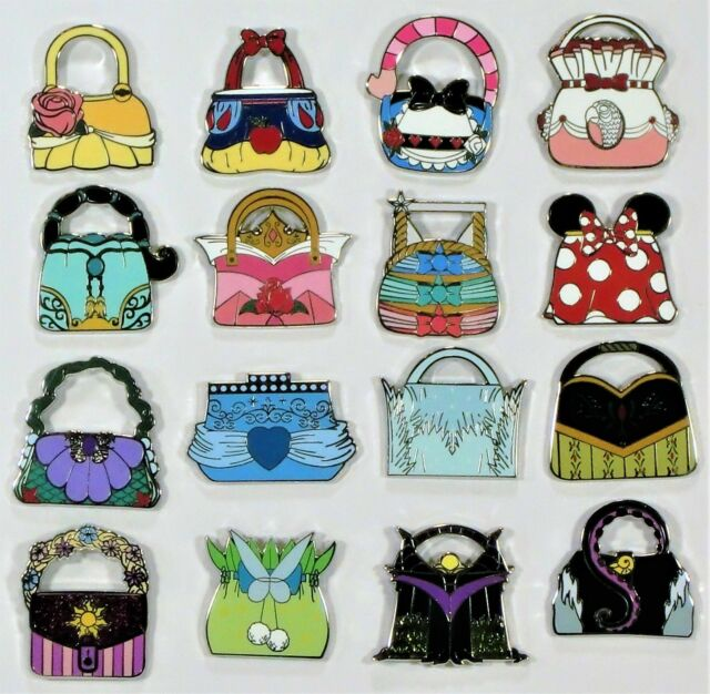 2a00732987 Disney 2018 Princess Handbag Purse Mystery Pack Collection Complete 16 Pin  Set