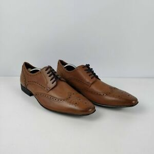 MENS-BURTON-BROWN-LEATHER-BROGUE-LACE-UP-SMART-FORMAL-SHOES-UK-11-EU-45