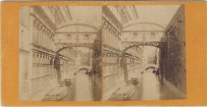 Pont Dei Sospiri Venezia Italia Foto Stereo Vintage Albumina Ca 1870