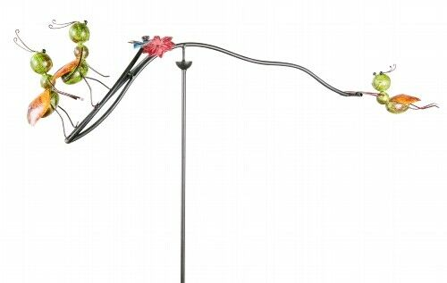 147 cm Windspiel Gartenstab Ameisen Metall grün schwarz Tiere H ca