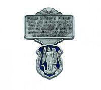 Visor Clip St. Michael Police Medal Enamaled & Prayer Silver Pewter Vintage Clip