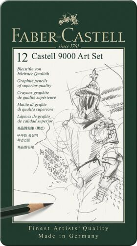 Faber Castell 9000 Art Design Set Graphite Pencils 12 Piece Assorted Leads New