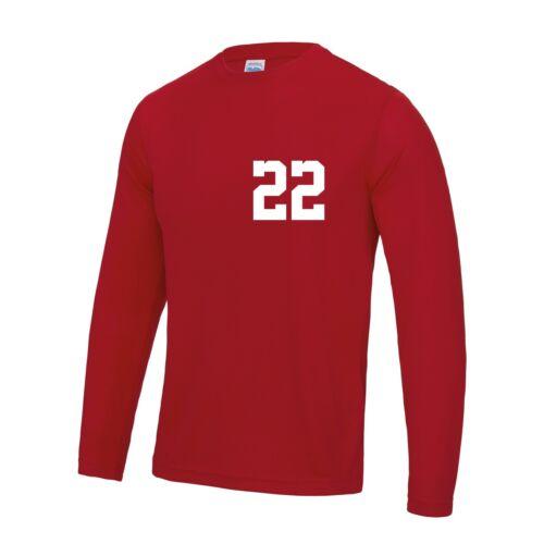 Homme Adulte Personnalisé à manches longues sport T shirt team Kit Nom /& Numéro Football