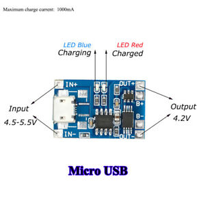 2Pcs-1A-TP4056-Micro-USB-Battery-Charger-Module-with-Over-Current-Protection-New