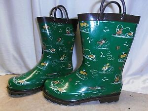 Kids Boys GREEN Rodeo Horse Treaded Rubber Rain Muck Boots ...