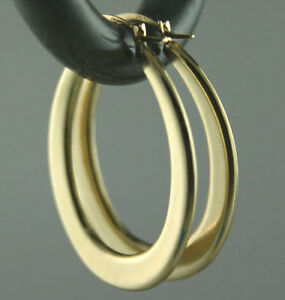 Image Is Loading Italian Solid 14k Yellow Gold Oval Hoop Earrings