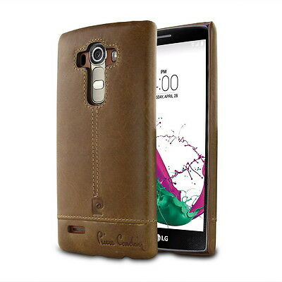 Original Pierre Cardin Brown Genuine Leather Case For LG G4 G40 Hard Back Skin
