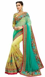 Saree Sari Bollywood Indian Style Wedding Traditional Women Designer