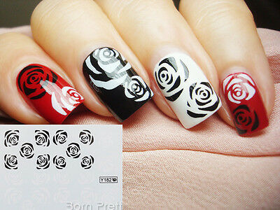 Nail Art Water Decals Transfer Stickers Black White Rose Pattern #Y182