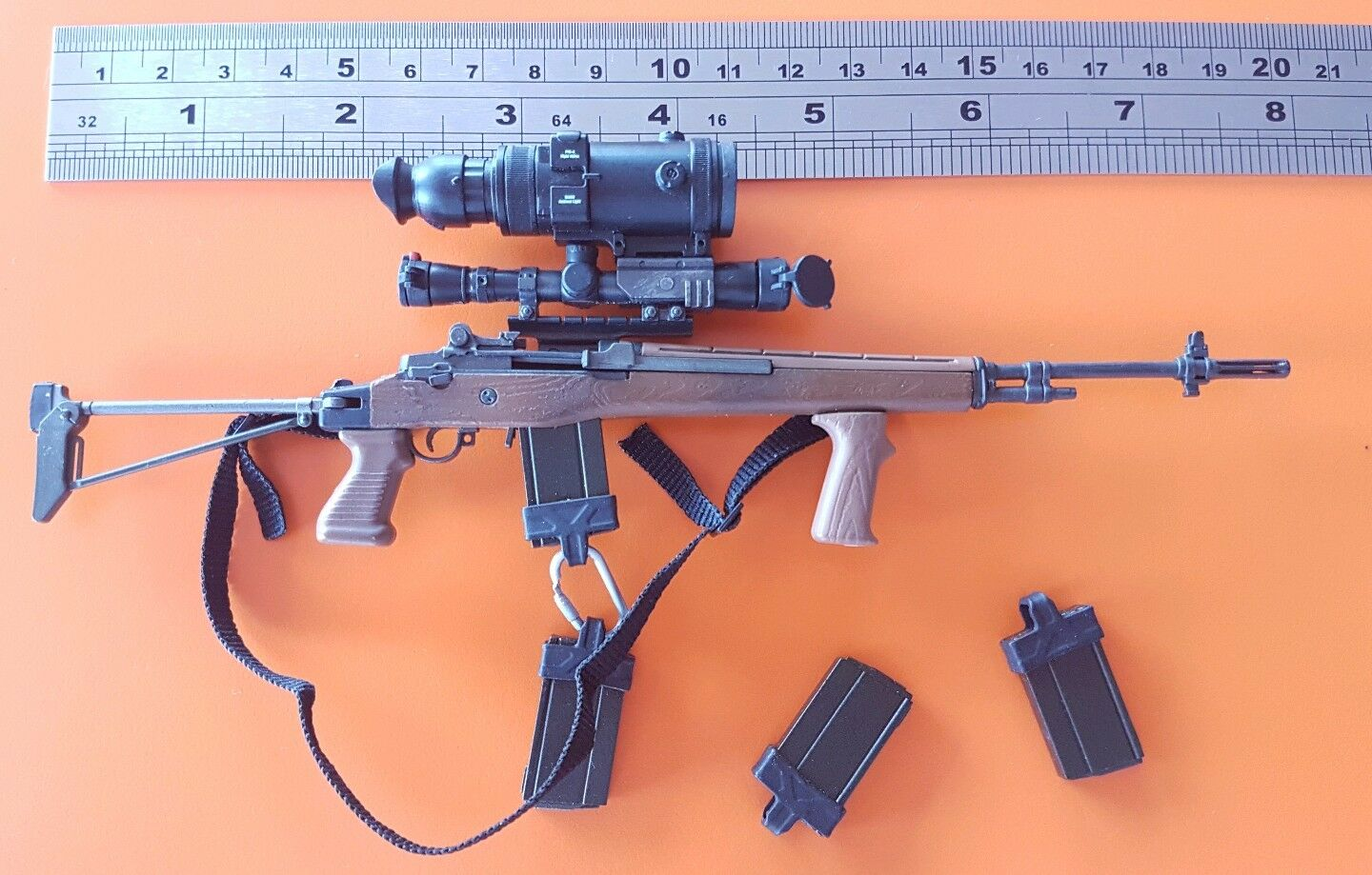 1 6 scale scale scale Navy Seal Helicopter Sniper Hawkeye M-14 Sniper Rifle for 12  figure 2293b1