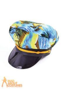 b9c7d8f26 Details about Mens Hawaiian Pilot Captain Hat Tropical Adults Fancy Dress  Costume Accessory