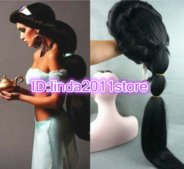 NEW Anime Aladdin Jasmine princess Long Black Wigs Classic Party Cosplay Wig
