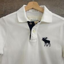 Abercrombie and Fitch A&F Mens Polo shirt White Muscle Fit cotton Size S