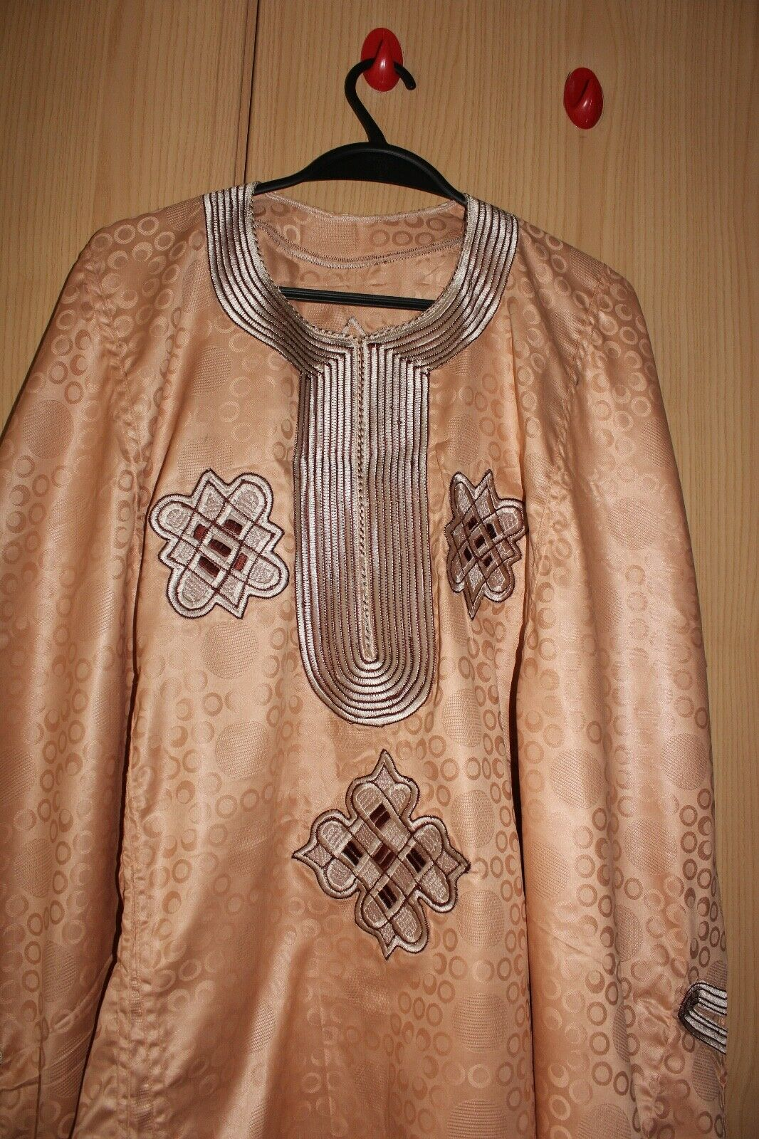 """Classic-West-African-fully-embroiderered Wine Swiss Brocade~40"""" Long!"""