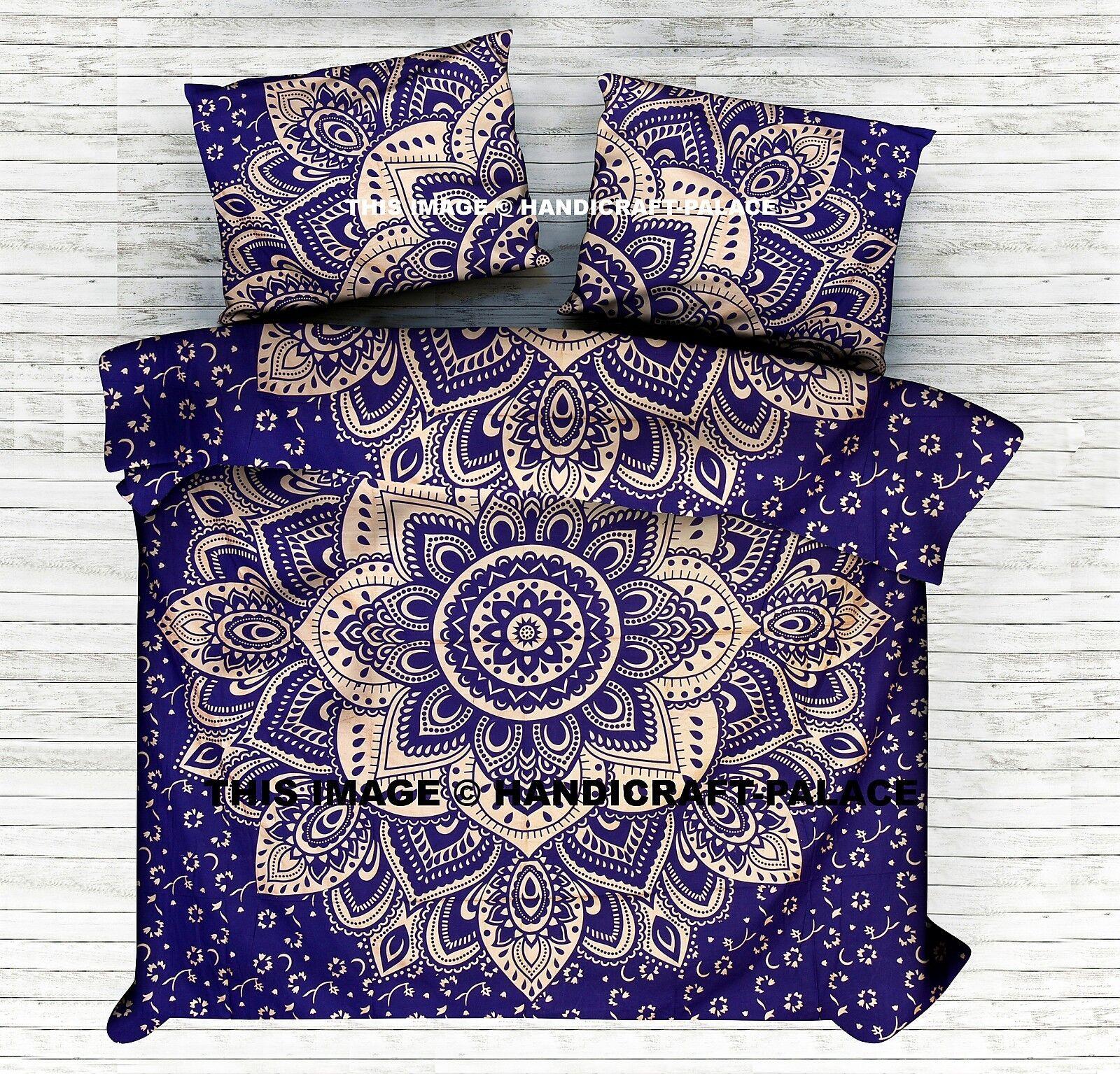 Indian Ombre Mandala King Duvet Cover bluee Blanket Bohemian Set Cotton Throw