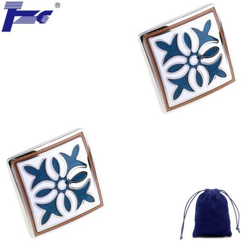 Fashion Cuff Links TZG00837 Blue Enamel Epoxy Shirt Cufflinks With Velvet Bag