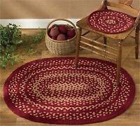 Chair Pad W/ties - Winesap Braided By Park Designs - Burgundy Tan Wine