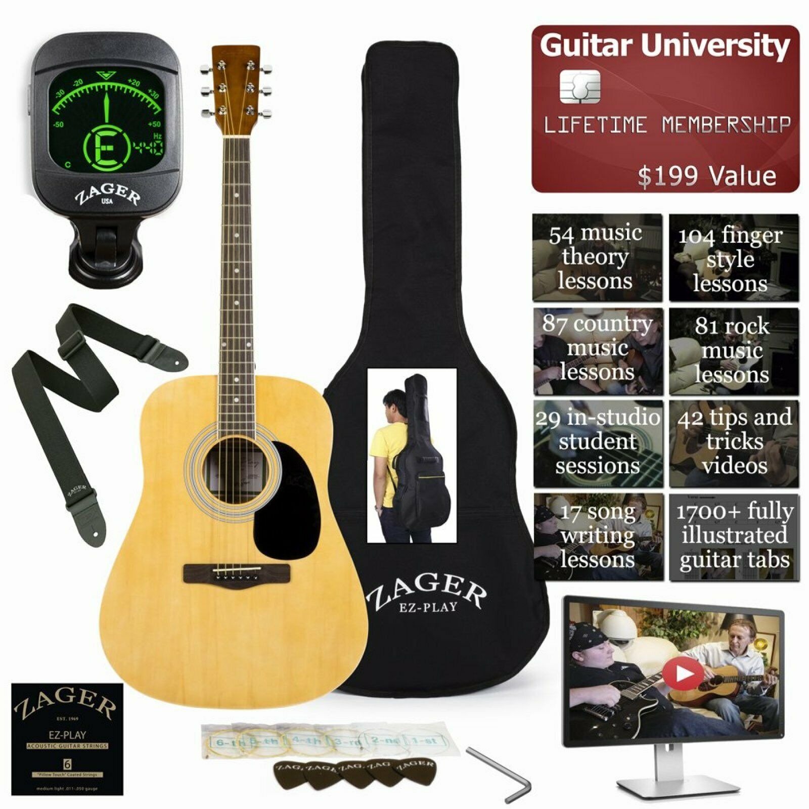 Acoustic Guitar Package Easy Neck Design Low Pressure Bracing Soft Touch Strings