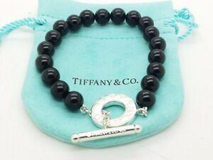 b7f5408e2 Tiffany & Co Sterling Silver Black Onyx Bead Bracelet Toggle ...