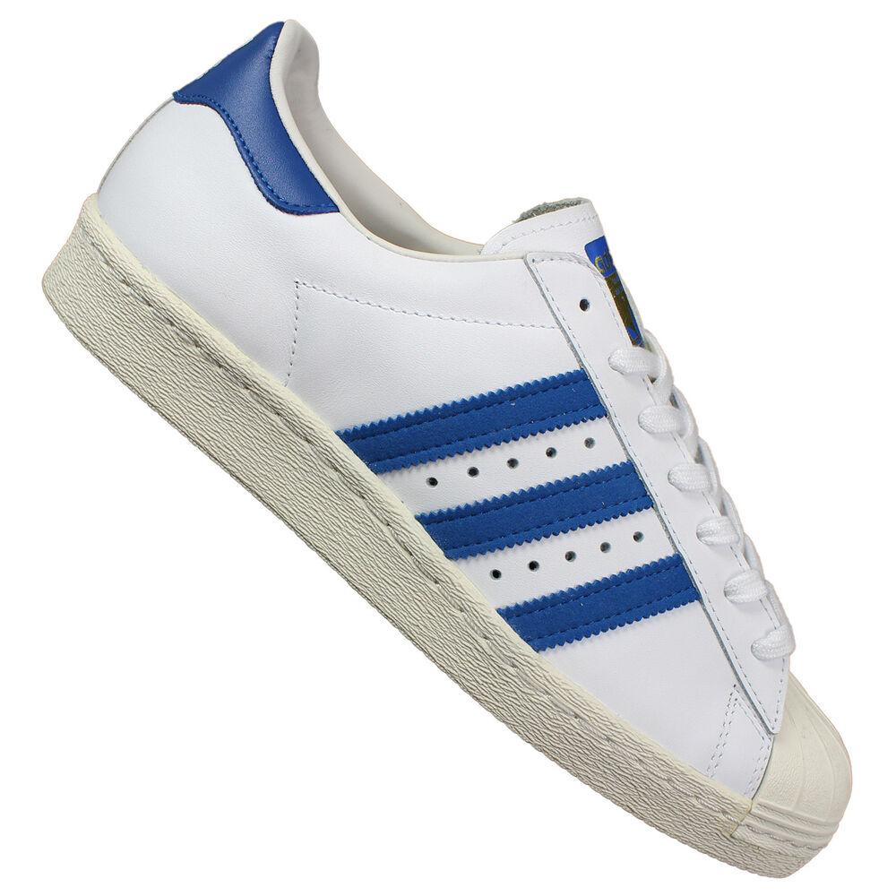 Adidas Superstar 80s Chaussures de Sport Baskets en Cuir Grandes Tailles Blanc