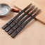 1 Pair Black Japanese Chopsticks Alloy Non-Slip Sushi Chop Sticks Chinese Gifts