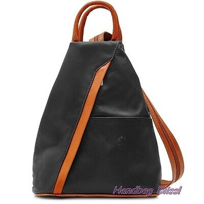 Handbag Bliss Genuine Italian Soft Leather Rucksack Backpack and Shoulder Bag