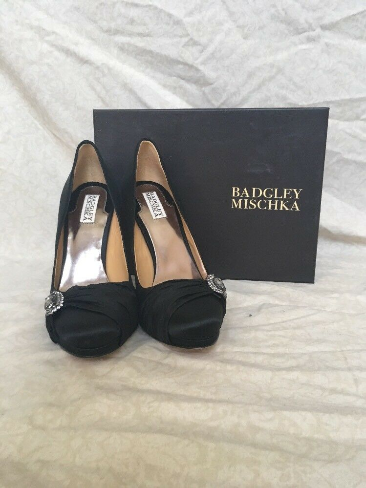 Badgley Mischka Odell Black Black Black Satin, Women's shoes, Size 9B 67e138